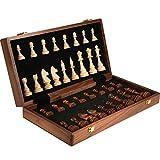 XIUWOUG Schachspiel Holzschach, Hochwertiges Schach Faltbares Schachspielbrett mit Tragbarem, Reiseschachspielbrett Pädagogisches Familienaktivitäten Eltern-Kind-Unterhaltungsspielzeug,45 * 45cm