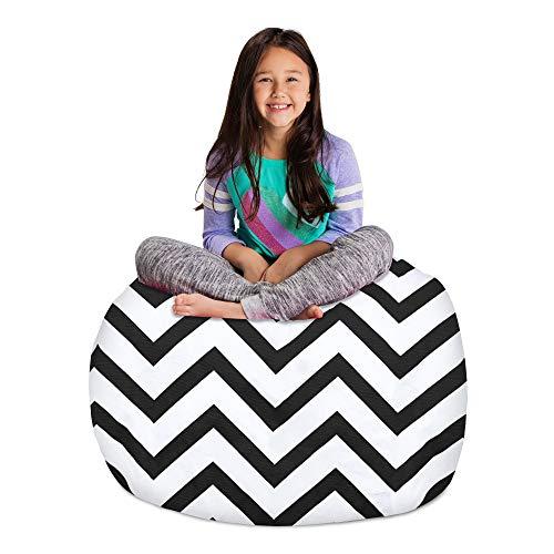 Posh Stuffable Sitzsack für Kinder, Stofftier-Aufbewahrung, für Kinder, Spielzeug, groß, 96,5 cm, Zickzackmuster, Grau und Weiß