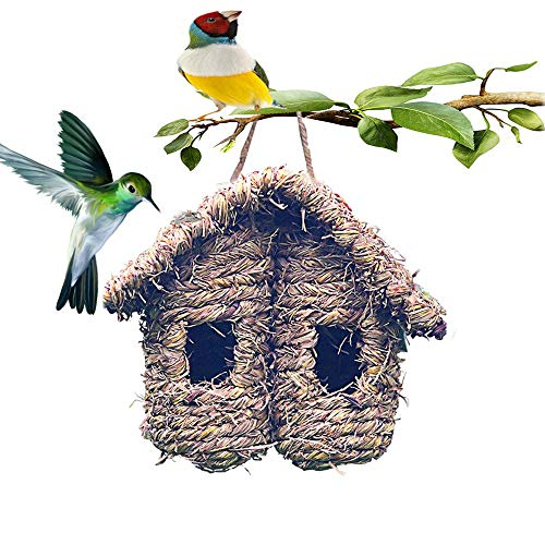 Hummingbird House for Outside, Hanging Bird Hideaway Nest Hand-Woven Bird House Roosting Pocket