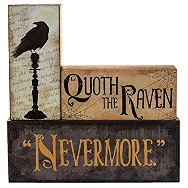Halloween Decoration - Quoth The Raven  Nevermore  Stacking Block 3 Piece Set
