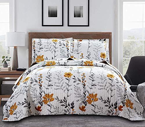 Juego de edredón floral para cama matrimonial/queen, diseño floral, ligero, estampado floral, hojas grises, juego de cama, colcha...
