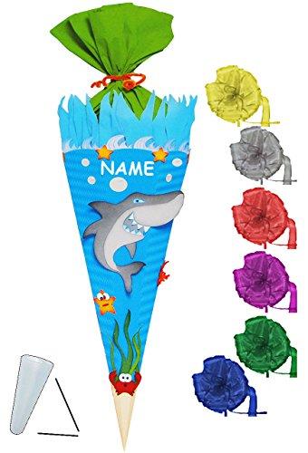 alles-meine.de GmbH BASTELSET Schultüte -  Hai Fisch & Unterwasser Welt  - 85 cm - incl. Schleife + Name - mit / ohne Kunststoff Spitze - Zuckertüte - Set zum selber Basteln - ..