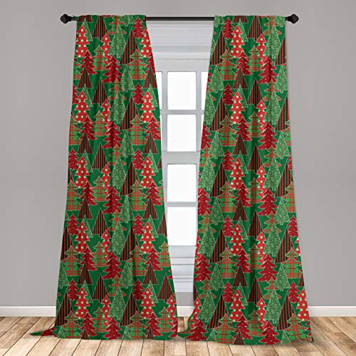 """Ambesonne Christmas 2 Panel Curtain Set, Abstract Pines with Swirls Dots Lines Design Patchwork Style Print, Lightweight Window Treatment Living Room Bedroom Decor, 56"""" x 95"""", Coral Green"""