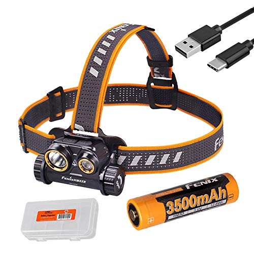 Fenix HM65R 1400 Lumen Spot and Flood Dual Beam USB-C Rechargeable Headlamp with 3500mAh Battery and LumenTac Battery Organizer
