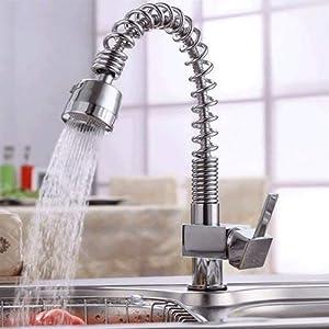 Auralum® Grifo monomando para cocina con caño alto giratorio cascada grifo para fregadero de cocina (latón cromado agua…