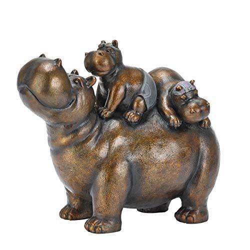 Dekofigur Nilpferd Chilly Hippos - Gartendeko - Polyresin - Kupfer - Breite ca. 34 cm