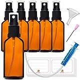 6 flaconi spray da 50 ml con nebulizzatore, in vetro marrone, set con 16 accessori