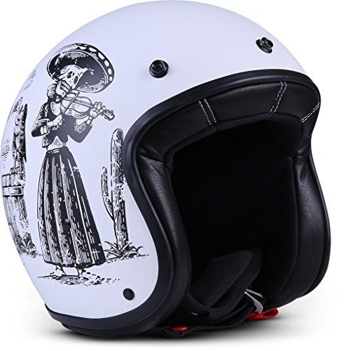Rebel R9 Motorrad-Helm Roller-Helm, ECE Fiberglas SlimShell Tasche, XS (53-54cm), Skeleton