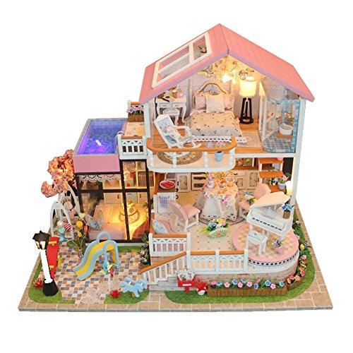 DIY Puppenhaus Miniatur Haus Selber Bauen Zum Basteln Zubehör Holz Lernspielzeug Spielzeug Kinder 3D Hütte Innovatives Modell Romantisches Geburtstagsgeschenk Süßes Gespräch