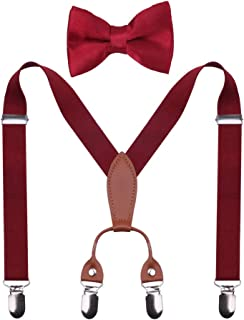 GUCHOL Boys Suspenders 4 Clip Leather for Kid's Adjustable Length Pants Accessories