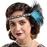 Fashband Peacock Flapper Headband 1920S Vintage Feather Headpiece avec Crystal Roaring 20s Great Gatsby Headband Flapper Cheveux Accessoires pour femmes et filles (bleu)