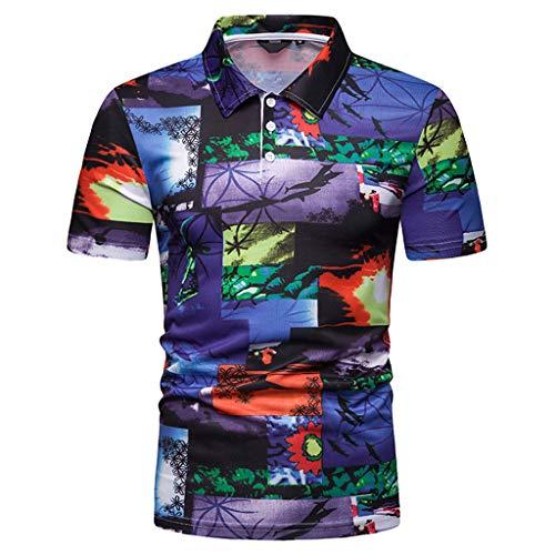 Hommes Polo Sport Affaires T-Shirt Chemise à Manches Courtes Cerf Broderie, Mode Mince Fit Entreprise Shirt Chemise Classique Slim Fawn Haut Tops