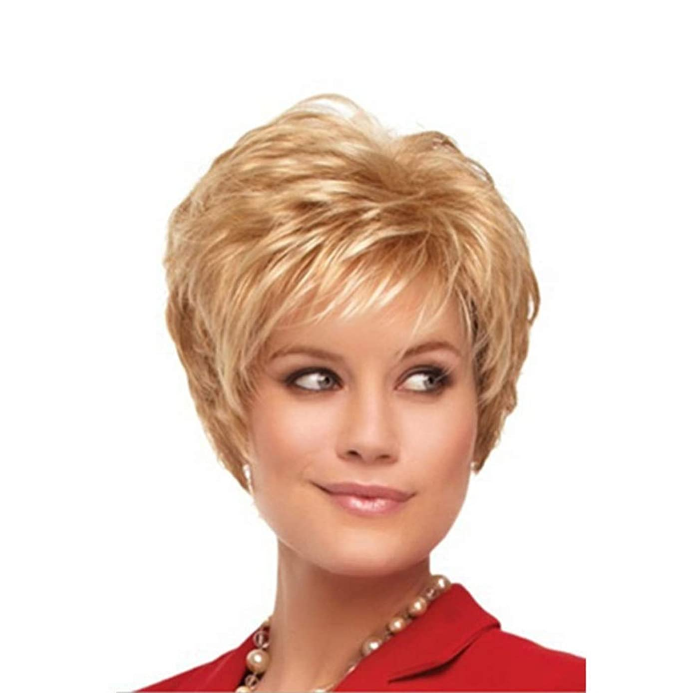 きゅうり音声学水曜日YOUQIU 女子ショートウィッグ夏のスタイルのフル波状カーリーブロンド髪の女性かつらかつら (色 : Blonde)