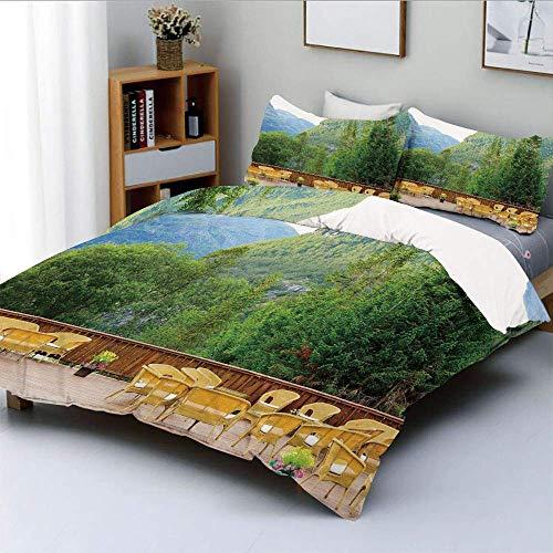 Juego de funda nórdica, mesas y sillas de restaurante al aire libre en las montañas de Noruega Nature Juego de cama decorativo de 3 piezas con 2 fundas de almohada, verde mostaza marrón, el mejor rega
