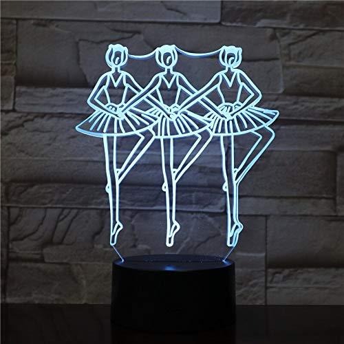 Einzigartige Dekoration Ballett Tanzmädchen 3D LED Nachtlicht Illusion Tischlampe Halloween Geschenk buntes Nachtlicht
