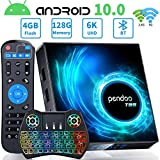 Android TV Box 10.0 4GB RAM 128GB ROM, Pendoo T95 Android TV Box Allwinner H616 2.4G/5.8GHz WiFi Bluetooth, Android Box 10.0 with Wireless Mini Keyboard Ultra HD 6K HDR TV Box…
