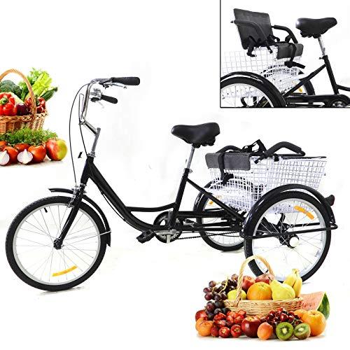 Triciclo para adultos de 20 pulgadas, 3 ruedas, Single Speed con asiento infantil y cesta plegable para padres y familia