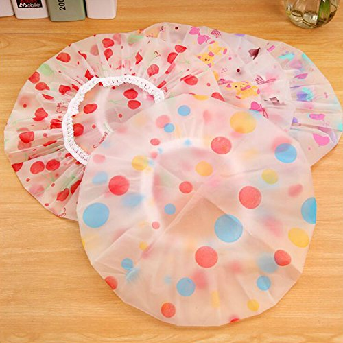 AKOAK 5 Pieces Reusable Waterproof EVA Plastic Lace Elastic Band Flower Printed Hat Environmental Protection Hair Bath Caps Shower Caps