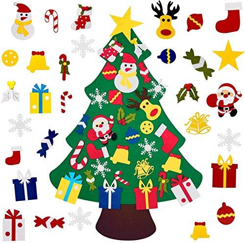 Árbol de Navidad de fieltro con 30 adornos de 3 pies para familia 3D de 3 pies para niños pequeños, decoración de Navidad
