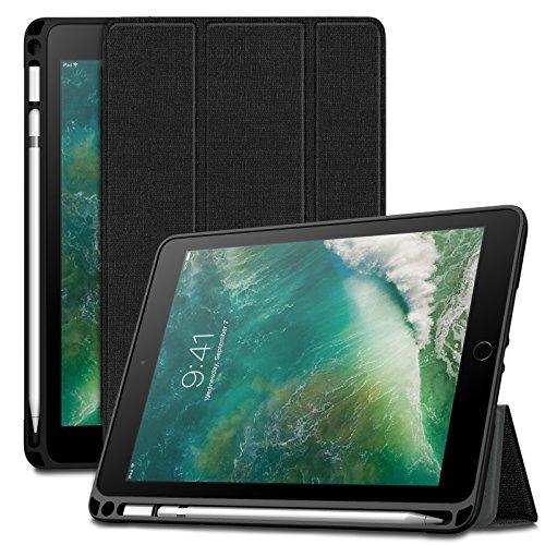 INFILAND TPU Guscio Morbido Custodia Protettiva per iPad 9.7 Pollice 2018 Versione-Auto Svegliati/Sonno Funzione-con Uno Fessura per Apple Pencil-Stile Tri-Fold Case-Nero