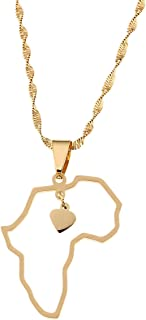 Africa Map Pendant Necklaces Gold Color Jewelry Map of African Wildlife Elephants Lions Giraffes