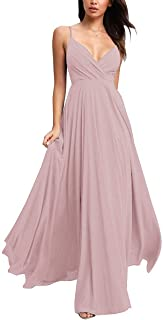 Spaghetti Chiffon Bridesmaid Dresses V-Neck Long Ruched Evening Party Gowns for Women