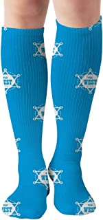 Wild West Blue Repeat American Signs Symbols Compression Socks U.S Olympic Fencer Recommend For Men & Women,19.68 Inch