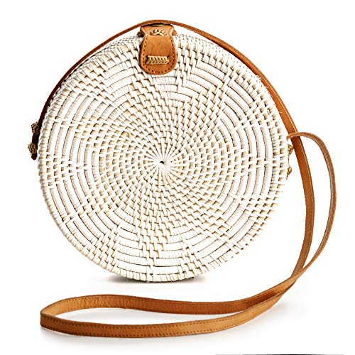 Rattan Bags for Women - Handmade Wicker Woven Purse Handbag Circle Boho Bag Bali (White)