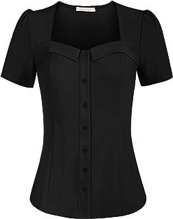 Belle Poque Camicia Donna Elegante a Manica Corta a Tinta Unita con Scollo a Cuore