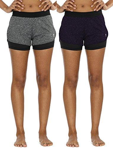 icyzone 2 en 1 Pantalón Corto Casual para Mujer Verano para Correr, Pack de 2 para Yoga Fitness Correr -M-Carboncillo/Azul Real