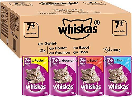 Whiskas Senior7+ - Sachets Fraîcheur pour Chat Senior (Stérilisé Ou Non), Sélection Mixte en Gelée, 84 Sachets Repas de 100g