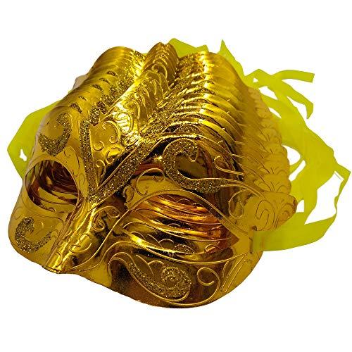 Arlai pack of 12 Mardi Gras Masquerade shining plated Party Masks (Gold)