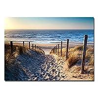 ポスターカラーセット、ポスター、モダンランドスケープキャンバス印刷、オーシャンビーチシーロードポスターとプリント、モダンホームデコレーションウォールアート写真フレームなし-フレームなし20X40_A