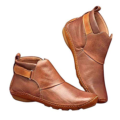 BLMDX Damen Stiefel Bequeme Stiefel mit flachem Absatz Mode Stiefel mit Unterstützung für Bogen weiche Sohlen Casual Schuhe Vintage Herbst Winter