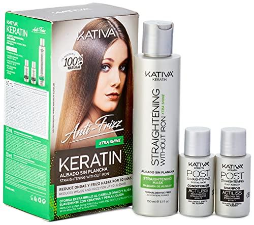 KATIVA Keratin Anti Frizz Xtra Shine - Kit Alisado Sin Plancha, Verde, 270 G