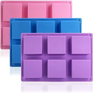 3 paquetes de 6 moldes de silicona para hornear tartas (morado, azul, rosa), molde para hornear de SourceTon, molde para galletas, molde para chocolate, bandeja para cubitos de hielo, molde para jabón