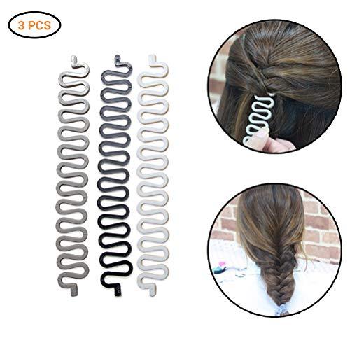 Jourbon Flecht Wunder Flechthilfe Frisurenwunder 3 Stücke Werkzeuge S Flechttool Haarstyling Flechtfrisur Haare flechten Werkzeug Fishbone DIY Styling Tool