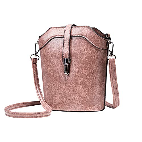 Leather Bucket Mini Crossbody Shoulder Bag,seOSTO Cell Phone Purse Wallet For Women (Pink)