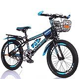 SJSF Y Bicicleta para Niños Viajero Diario Estudiante Bicicleta para Automóvil Niñas/Niños Deportes Ciclismo Al Aire Libre con Asiento Trasero Y Canasta Adecuado para Adolescentes De 7 A 16 Años,22'