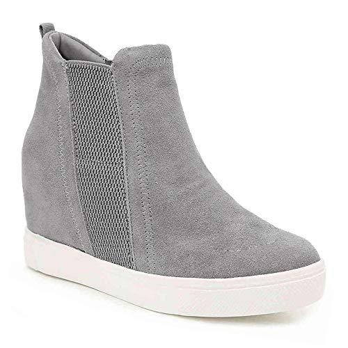 Blivener Women#039s Platform Wedge Sneakers High Top Wedge Hidden Heel Fashion Sneaker Light Grey 9