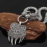AMOZ Norse Viking Thor 's Hammer Totem Bear Claw Colgante Joyas, Mitología Vintage Pagan Fashion Amuleto Collar con Cadena de Quilla de Cabeza de Dragón,Garra de Oso,Los 70Cm