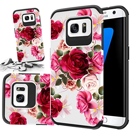 Red Floral Phone Case Compatible for [ Samsung Galaxy S7 Edge ] Storm Buy [Shock Absorption] Dual Layer Heavy Duty Pink Rose Protective Girl Women Cover (Red- S7 Edge)