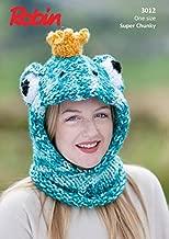Robin Childrens Novelty Frog Hat Paintbox Splash Knitting Pattern 3012 Super Chunky