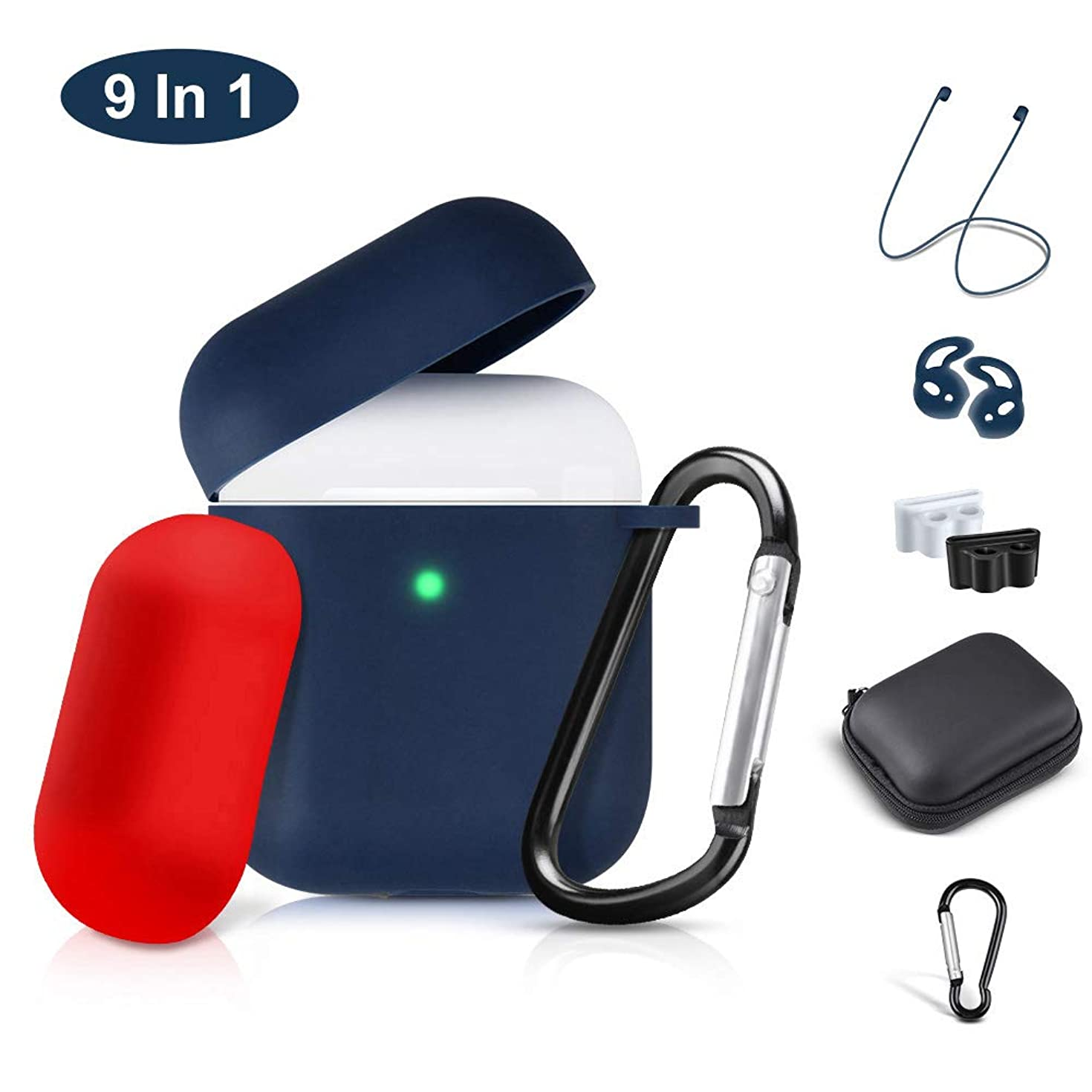 Airpods Case Cover, 2019 Airpod 2 Silicone Case Full Protective Cover Skin 9 in 1 Airpods Accessories for Apple Airpods 2 & 1 Wireless Charging Case, RTAKO Airpod Case Blue (Front LED Visible)