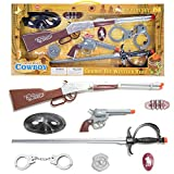 Police Cowbody Accessory Role Play Set For Kids Includes Toy Gun, Pistol, Handcuff, Sword, Mask