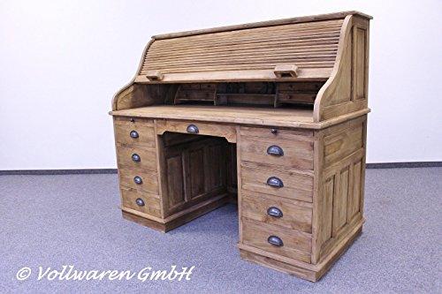 Teaktown Teak American ROLLTOP SEKRETÄR Schreibtisch Teakholz antik - Struktur gebürstete Oberfläche - Büro Möbel