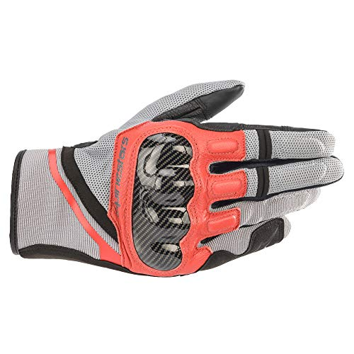 Alpinestars Motorradhandschuhe kurz Motorrad Handschuh Chrome Sporthandschuh kurz grau/rot L, Unisex, Sportler, Ganzjährig, Leder