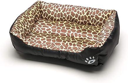 Pet House Dog Bed Kennel Cat Mat, Paw Print Pets Sofa Waterproof Snuggle Dog Cat Pet Beds, Leopard & Black (Ultra-Soft, Rectangle)