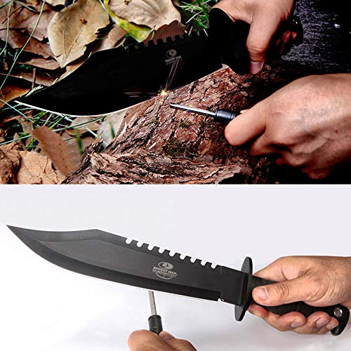 MOSSY OAK Rambo Survival Hunting Knife, 15-Inch Fixed Blade Bowie Knife with Sheath and Fire Starter, for Camping, Tactical, Outdoor