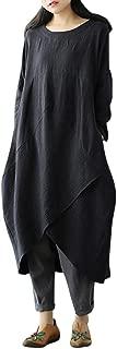 Women Autumn Plus Size Dress Vintage Long Sleeve Tunic Baggy Long Maxi Dress Soft Skirt